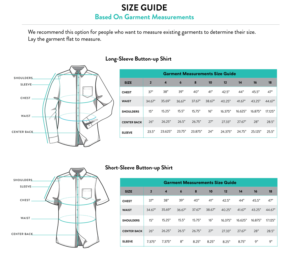 Kirrin Finch Garment Measurements Fit Guide