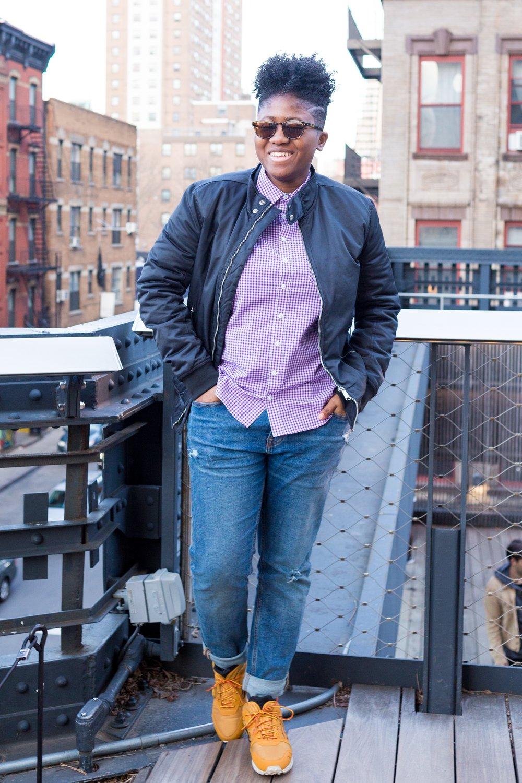 Women's purple gingham shirt