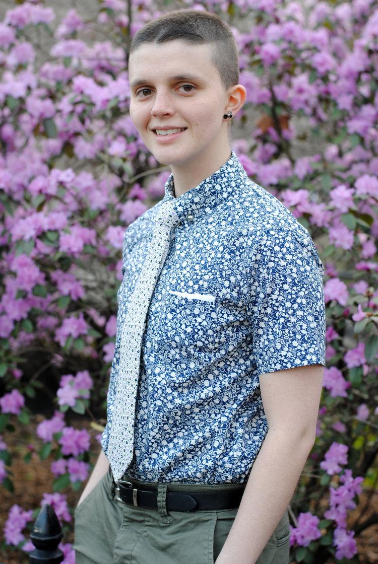 Masculine women's button up shirt