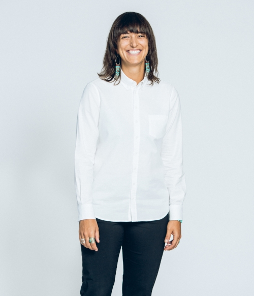 White organic cotton oxford button down shirt