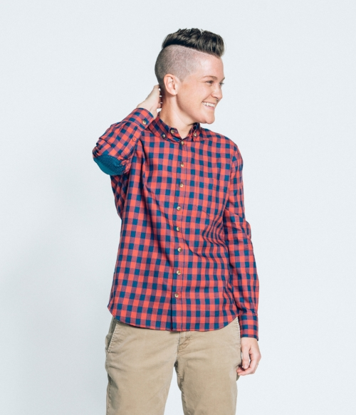 Red and Navy Flannel Shirt With Elbow Patches Women