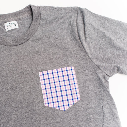 Gray T Shirt Pink Gingham Pocket Unisex.jpg