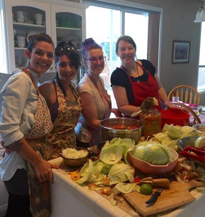 Young Living ladies making sauerkraut together! Love hanging out with our team!