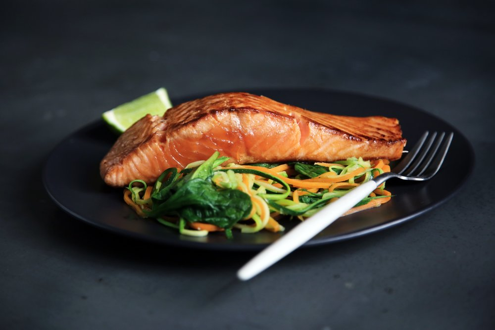 Marinated baked salmon, great for your brain, physiology, heart health, and includes all palatability deliciousness, including sweet, salty, meaty flavors. High in omega-3 fatty acids, which are healthy polyunsaturated fats.