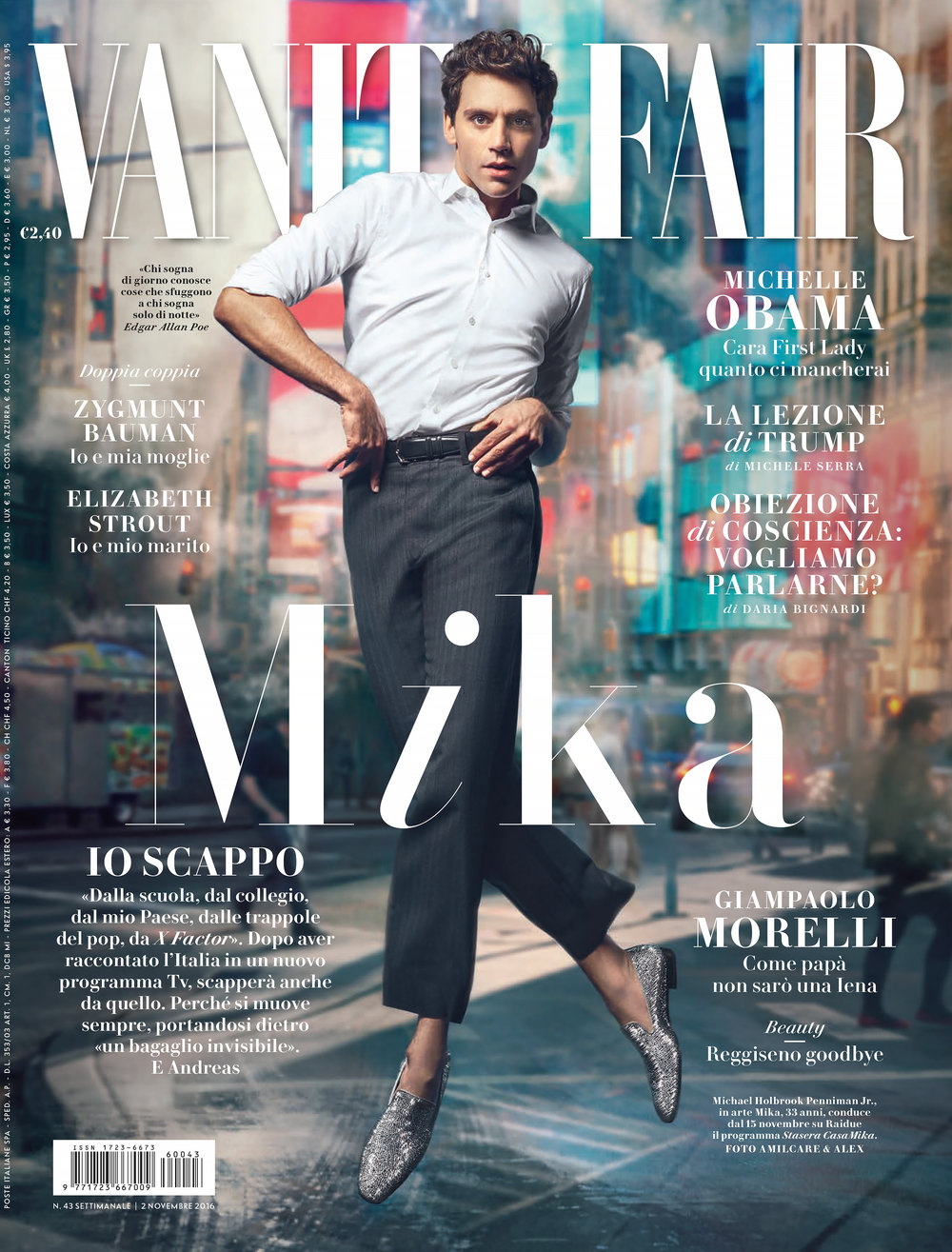 MIKA: VANITY FAIR ITALY COVER STORY, OCTOBER 2016