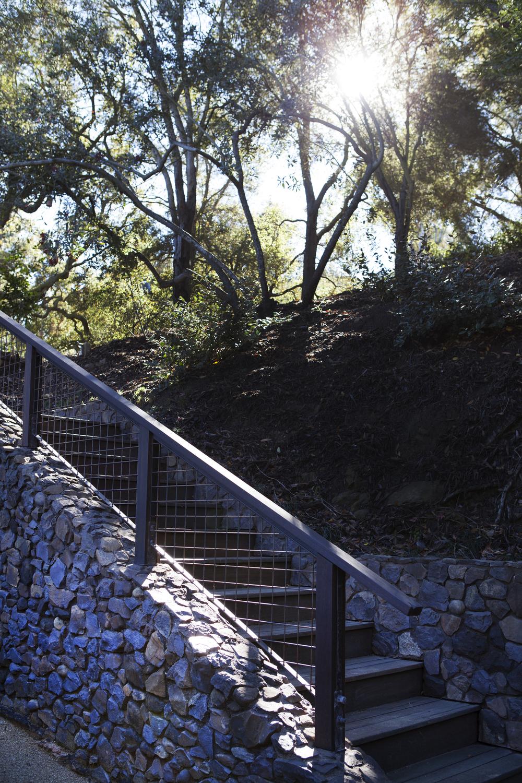 Stone facade outdoor staircase - Topanga Canyon - Los Angeles garden design by Campion Walker Landscapes