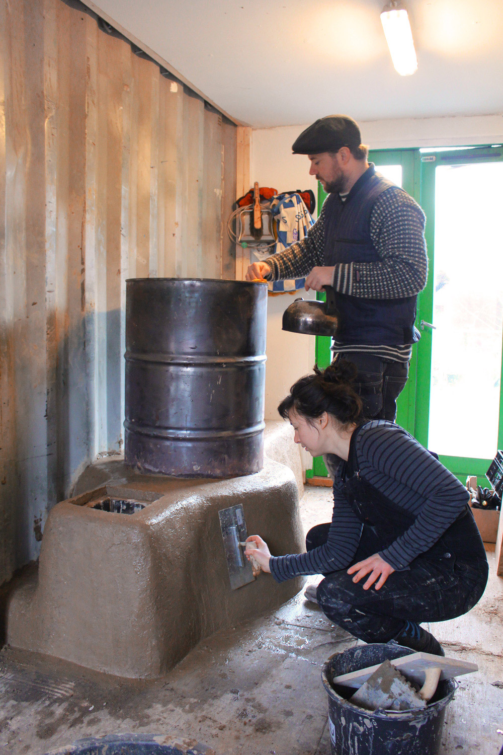 Finishing the rocket stove