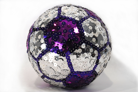 """Soccer Ball  , 2007 Sequins and straight pins on regulation size soccer ball, 8"""" diameter"""