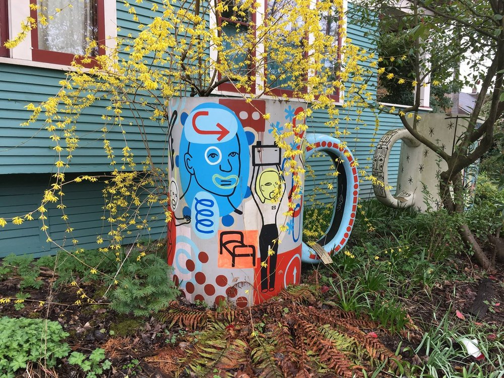 """Get-Up-And-Go  , Fiberglass and acrylic paint, 60"""" x 72"""" x 48"""" for Millstone Coffee (P&G)"""