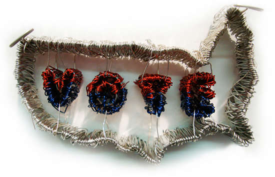"""VOTE  , 2008 Steel and floral wire, 2-13/16"""" x 4-15/16"""" x 1-1/16"""""""