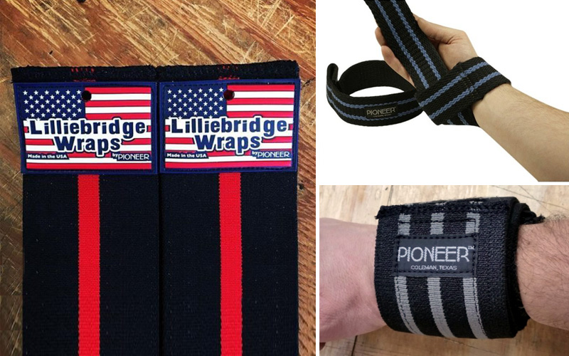 Pioneer offers a full line of knee/wrist wraps and lifting straps.