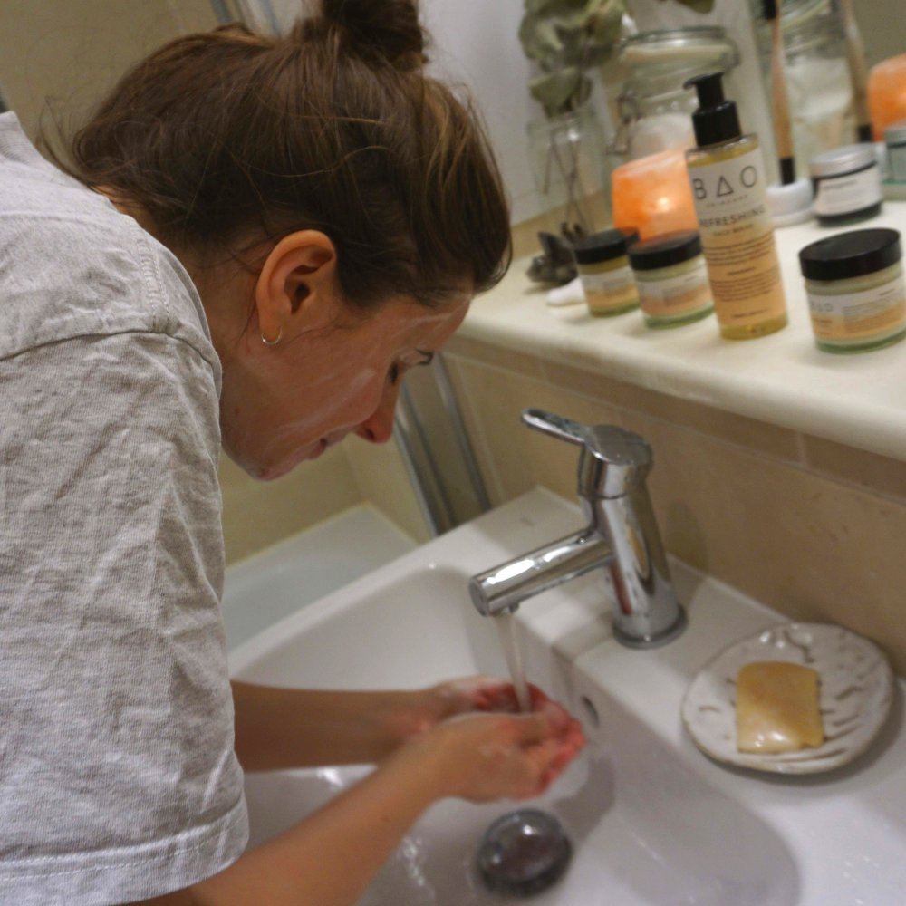 Aimee, my lovely wife loving sampling the refreshing face wash
