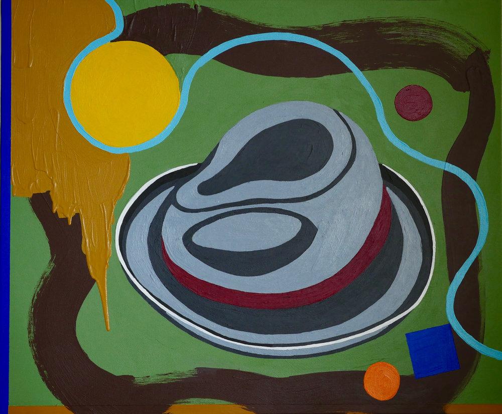 "'Summer Hat' 24"" X 20"" Acrylic on Canvas 2017"