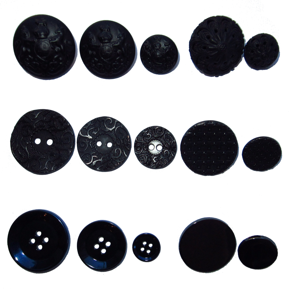Dark metal buttons