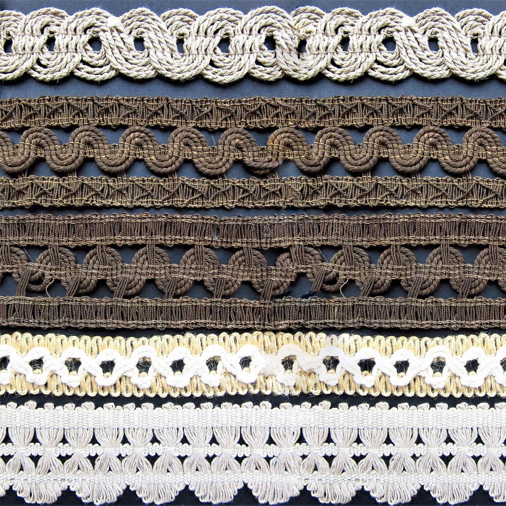 Passementeries en fibres naturelles et en fils de métals
