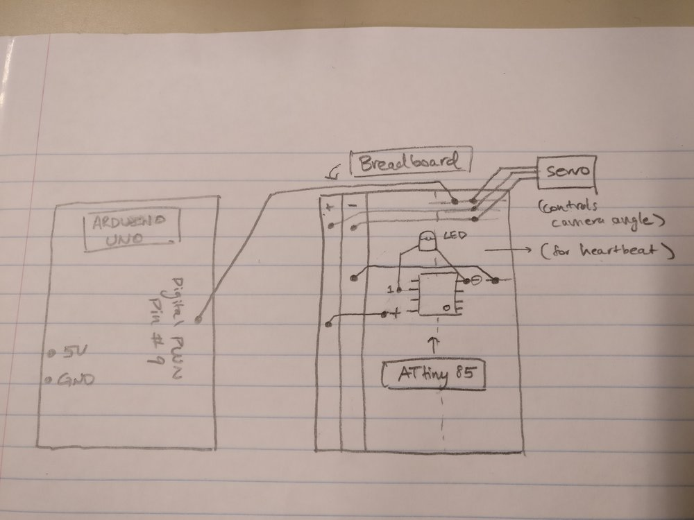 A rudimentary, hand-drawn circuit diagram. It's good enough such that another person can reproduce the same circuit by reading the diagram, but it isn't too neat or professional.