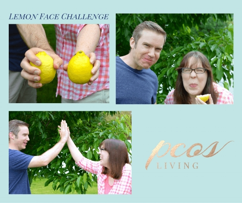 My husband and I doing the Lemon Face Challenge for PCOS. | PCOSLiving.com