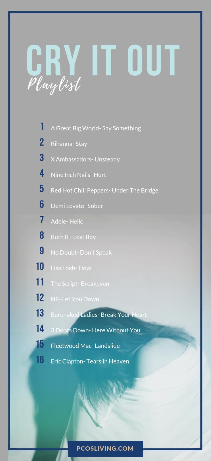 Cry it out Playlist // Sad Songs playlist // Sad songs when you need a cry // Feeling sad Playlist // Hard Times Playlist |  PCOSLiving.com  #playlist #sad