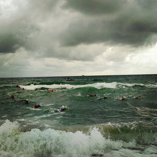 If you have to ask why we'd do it, you'd never truly understand the answer.  #openwaterswimming #bringontheelements #nofear #where'smyfloaty #jellies #waves #wind #rain #adventure #eventlife