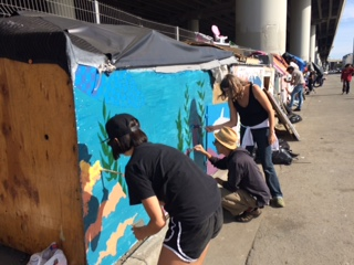 Volunteers for painting, BBQ, & trash clean-up at Box City encampment (7th St/Mission Bay)