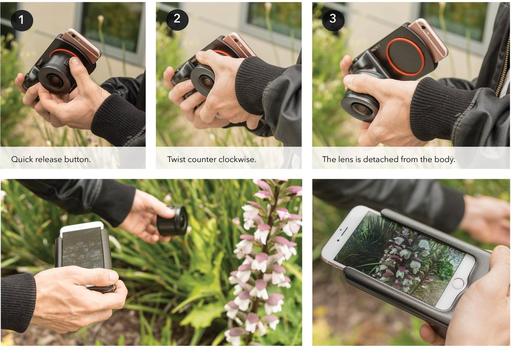 Detaching - The design of the lens has a quick-release button where the user pushes and holds on to the button. Once they twisted in counter-clockwise motion the lens will detach from the body. Next, they can move the lens around and the phone screen is acting as a view-finder.