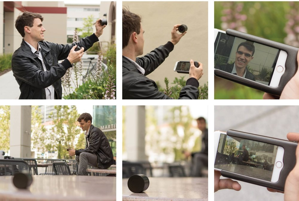 Usages - Due to the wireless feature of the lens, the user can use it as a selfie lens where they can hold the lens and take the picture on the other hand. Another method is placing the lens on a surface, and they can take a wide-shot with the background.
