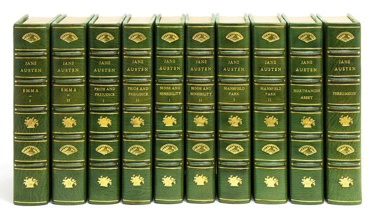 1917 Complete Jane Austen set in three quarters green morocco
