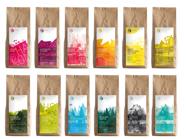 Colorful Coffee Packages