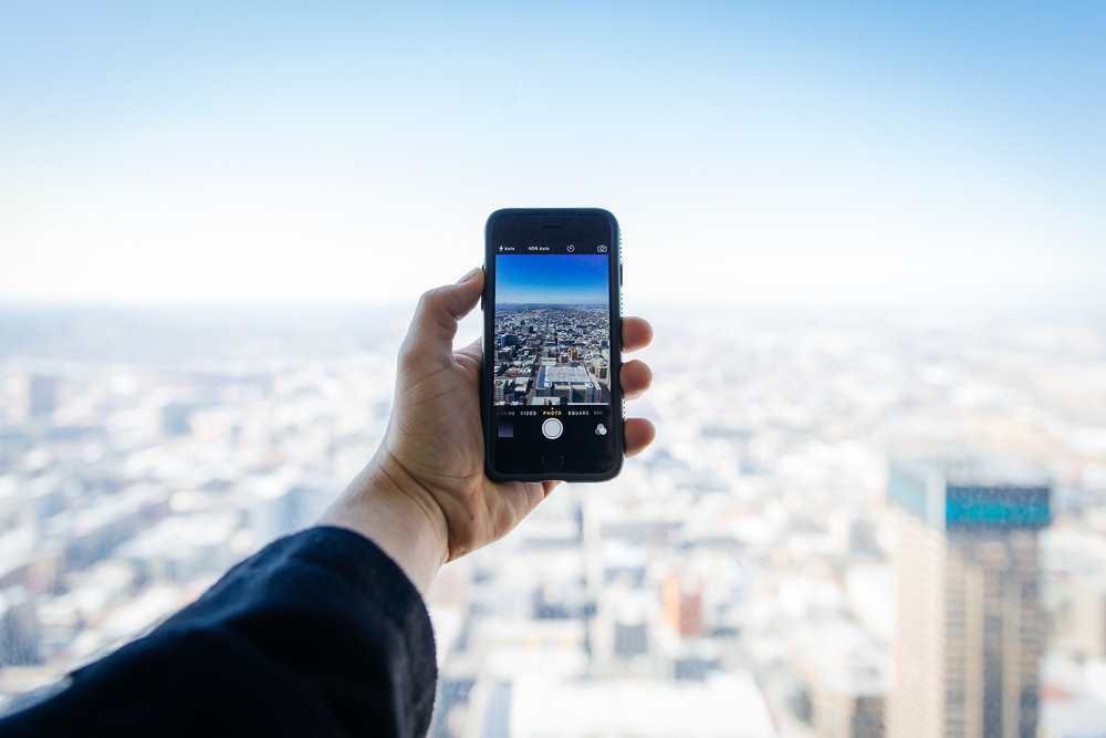 city view through smartphone