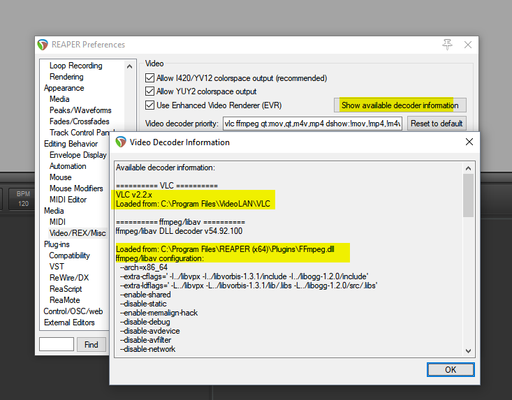 Preferences > Video/REX/Misc > Show available decoder information... and voila. Note the highlighted bits.