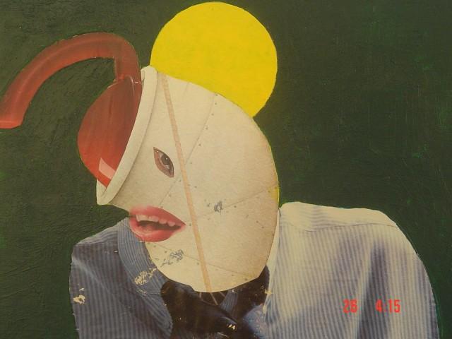 Personaggio quotidiano   Tecnica mista su compensato  25 x 30 cm  1994