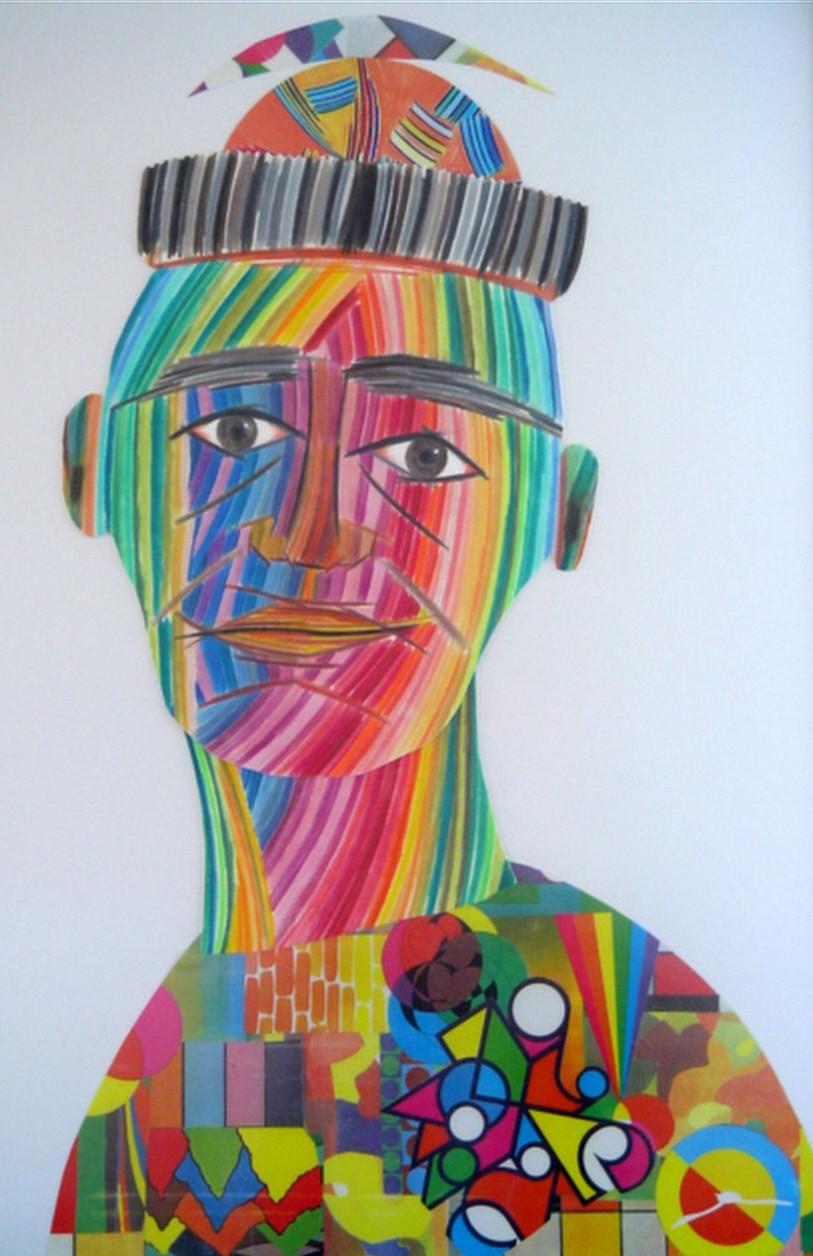Uomo di colore   Collage  50 x 70 cm  2002