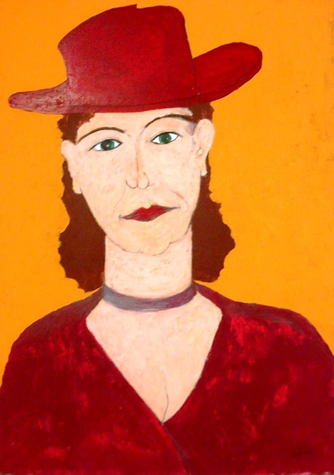 """""""Donna in rosso""""   Acrilico su tela  50 x 70 cm  2002"""