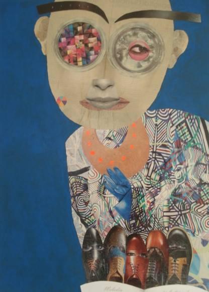 """""""Melodia...se lo tenga!""""   Collage su tela  50x70 cm  2012"""