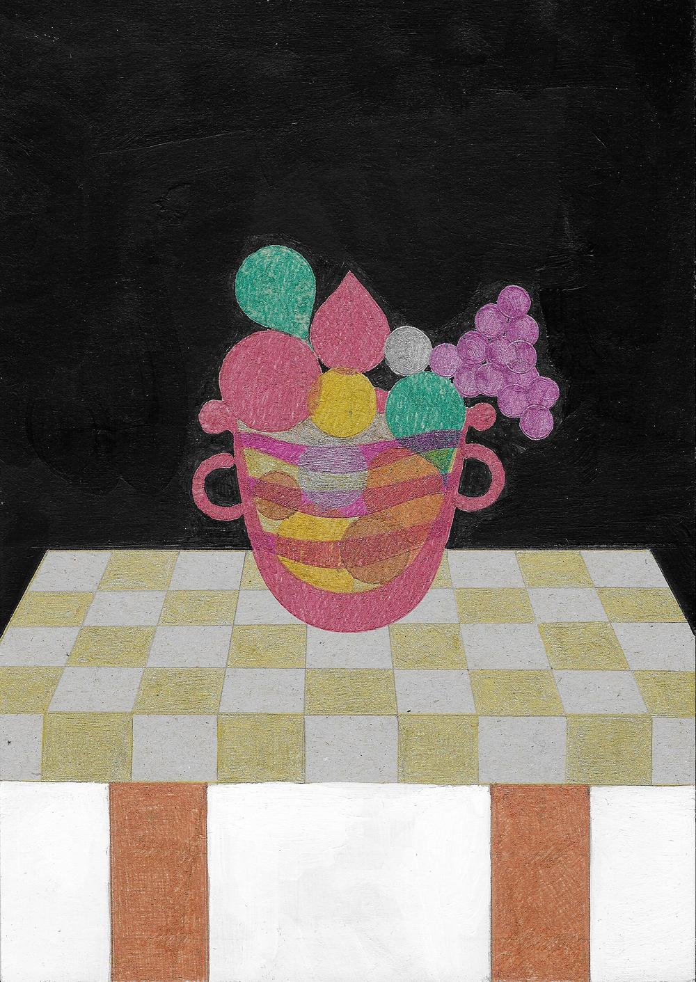Vaso con frutta   Tecnica mista su cartoncino grigio  26x36 cm  2016