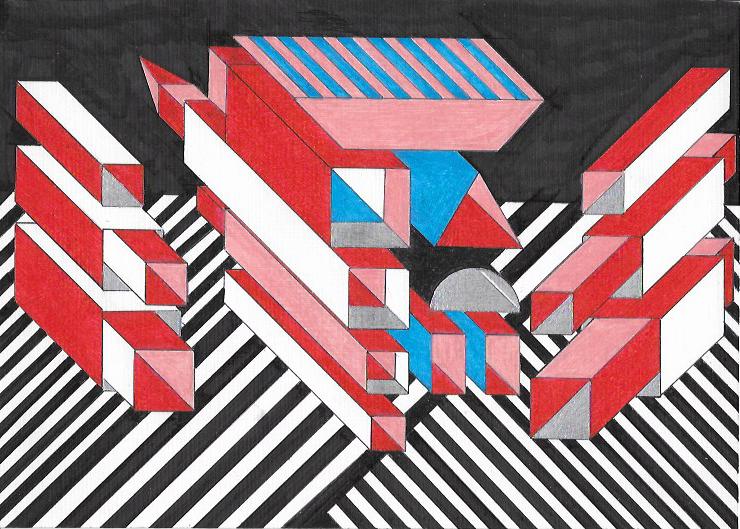 Composizione a 6 colori   Tecnica  25x18 cm  2016