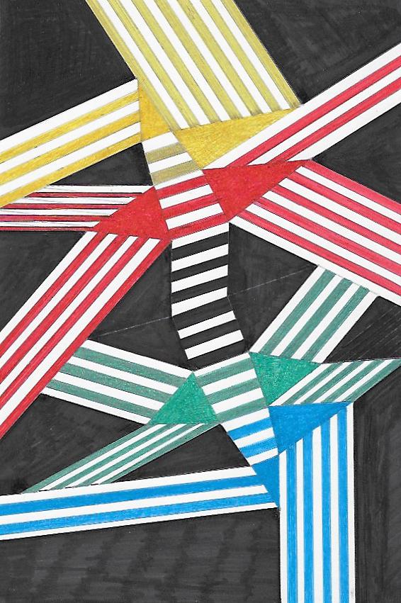 Composizione a 4 colori   Tecnica mista su cartoncino  20x29.5 cm  2016
