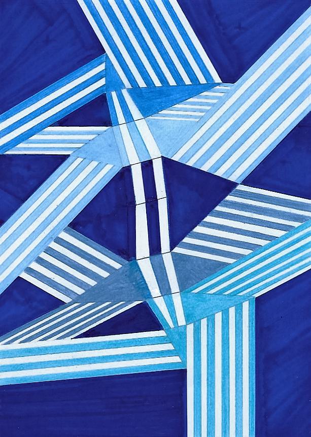 Composizione a 6 colori, rotante (2)   Tecnica mista su cartoncino  18x25 cm  2016