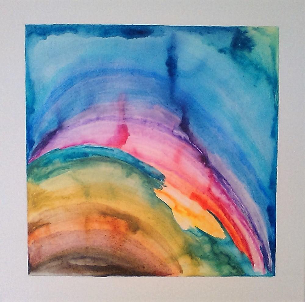 Quattro per uno, roteante   Matite colorate acquarellati su tela  57.5 x 57.5 cm  2016