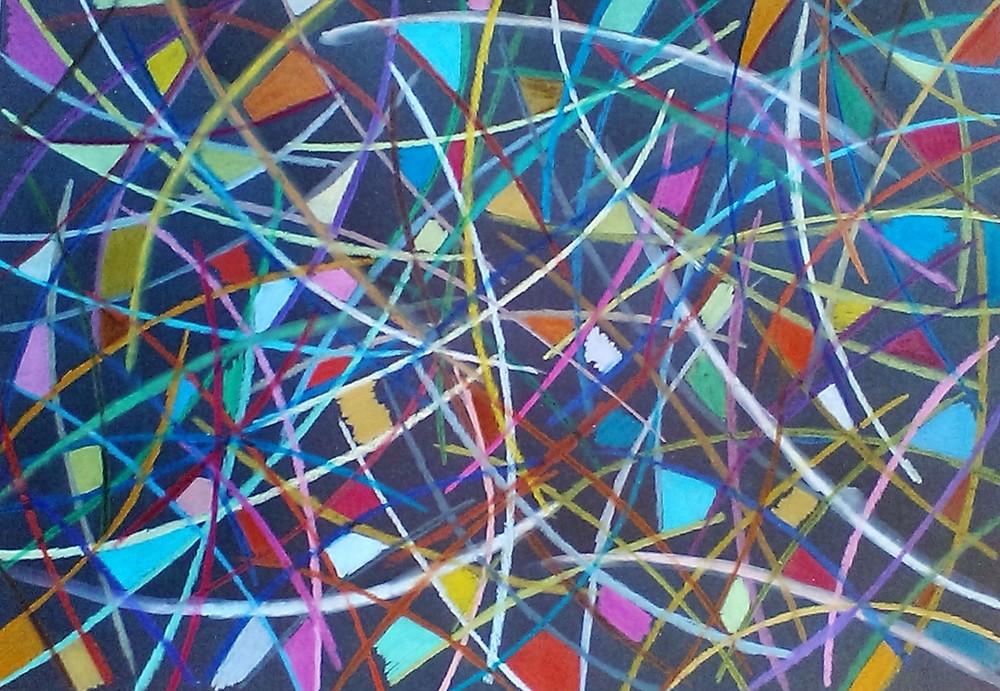 Composizione   Matite colorate su cartoncino nero  36x50 cm  2016
