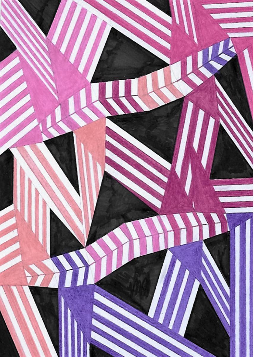 Composizione a 5 colori, rotante    Tecnica mista su cartoncino  18x25 cm  2016