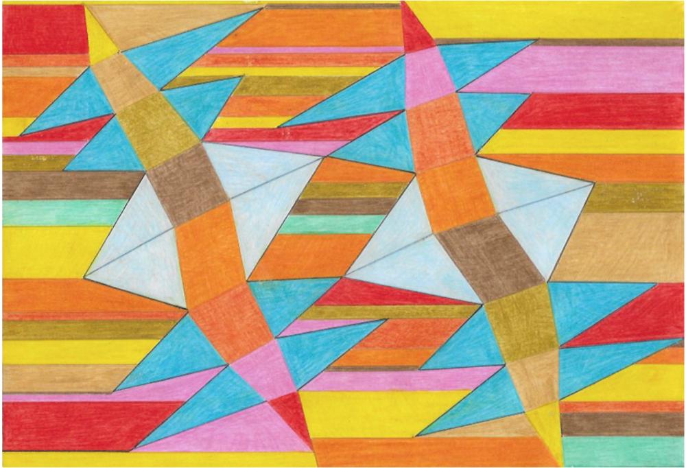 Composizione a 9 colori, rotante    Matite colorate su cartoncino  20x30 cm  2016