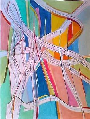 Elementi fluttuanti   Matite colorate su cartoncino bristol  50x70 cm  2016