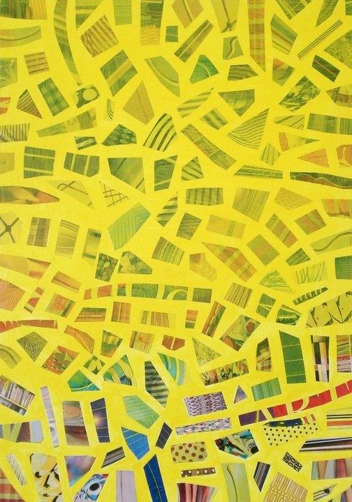 """""""Composizione in giallo""""   collage su tela  60x80 cm  2008"""