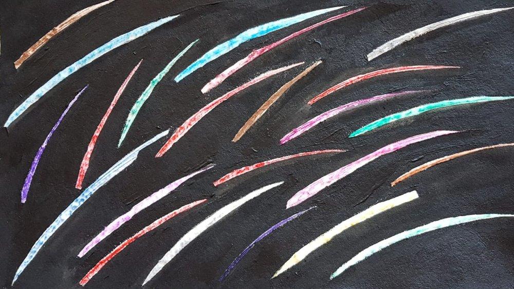 Meteore 18  Acrilico su cartone  30 x 50 cm  2018