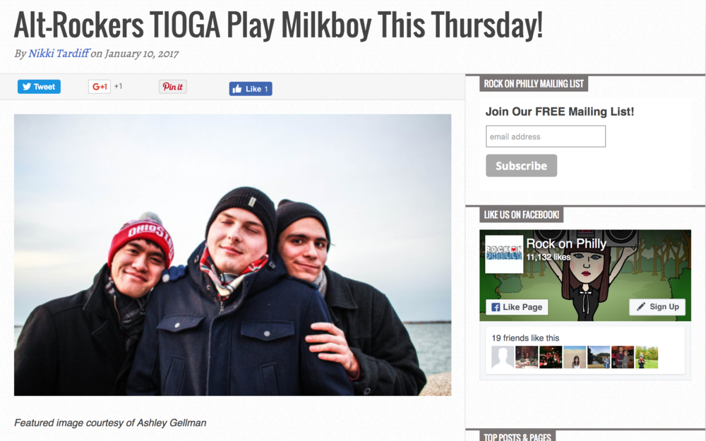"""Alt-Rockers TIOGA Play Milkboy This Thursday!"""