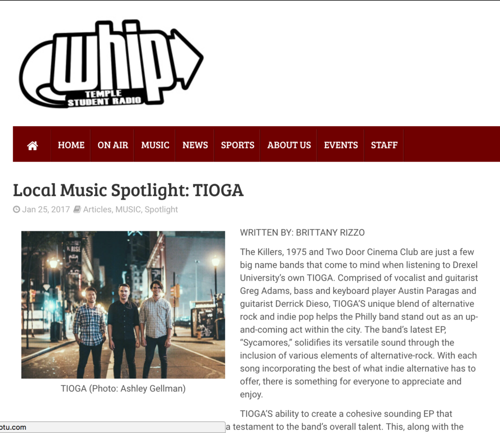 Local Music Spotlight: TIOGA