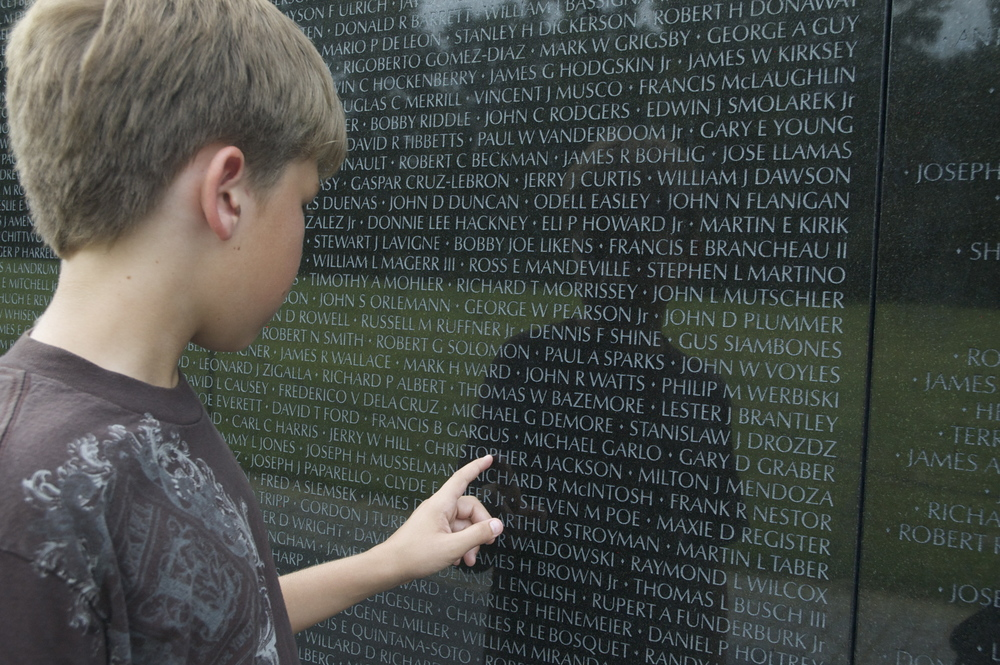photo: My youngest son counting the thousands of names on a memorial in Washington D.C.