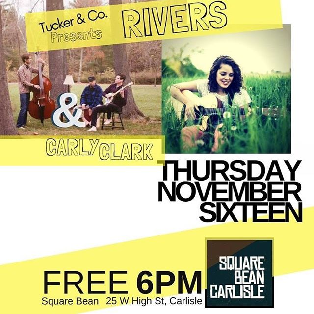 Looking forward to this show Thursday night! 🎉 I'll be opening for the talented @theriversband at #SquareBean in #Carlisle. Music starts @ 6pm! 🎵 If you're in the area come on out and hang with us. 😊