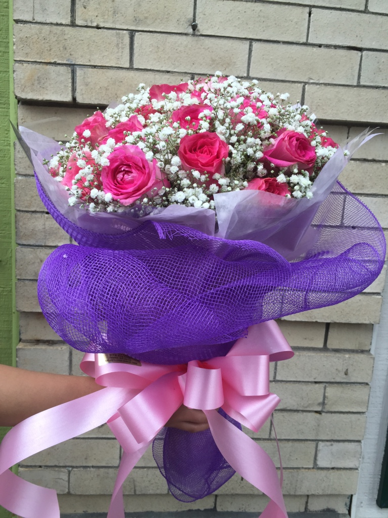 Pink Rose with Baby's Breath
